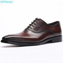 Luxury Designer Formal Men Dress Shoes Genuine Leather Classic Brogue Shoes Flats Oxfords For Wedding Office Business цены онлайн