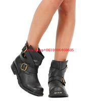 Women Vintage Western Cowboy Boots Genuine Leather Buckle Strap Mid Calf Womens Combat Boots Motorcycle Leather