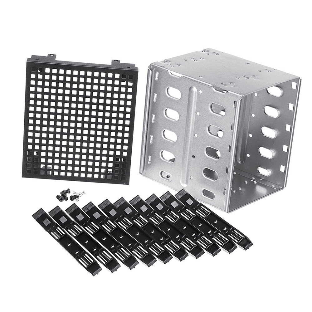 "Wholesale 5.25"" To 5x 3.5"" SATA SAS HDD Cage Rack Hard Drive Tray Caddy Adapter Converter With Fan Space Sliver(China)"