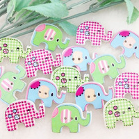 100pcs Mix Color Baby Elephant Carton Baby Sewing Craft Button Lots 20*29MM WB119