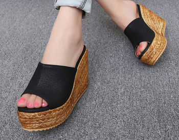 Plus Size 40-45 Beach Slippers Women's Platform Shoes 2018 Summer Sandals Open Toe Wedges Shoes Casual Small Yard 31 32 1