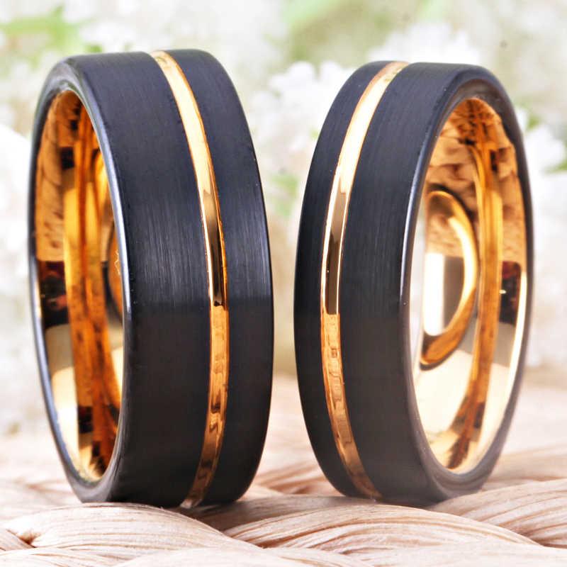 Clássico Anéis de Ouro Preto, black Rose Anéis de Carboneto de Tungstênio das Mulheres Homens Jóias Presente de Casamento Anéis de Noivado Set Transporte da gota