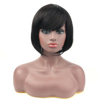 Salonchat Head Spin Lace Bob Wig Short Human Hair Wigs With Bangs 100% Natural Chinese Remy Hair Bob Short Wigs For Black Women