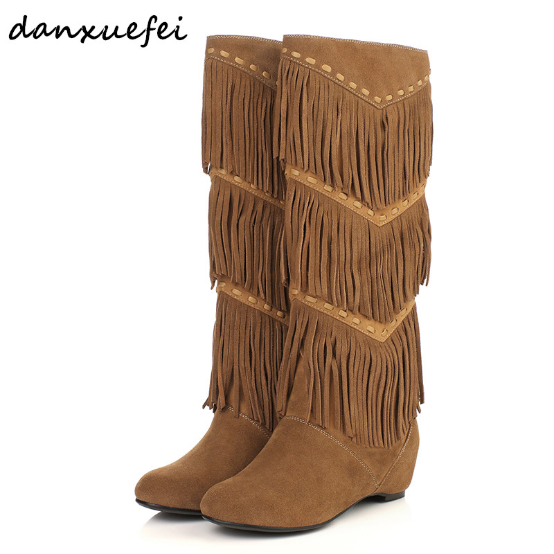 Womens winter genuine suede leather slip-on knee high fringe boots brand designer cold weather flats comfort long boots shoesWomens winter genuine suede leather slip-on knee high fringe boots brand designer cold weather flats comfort long boots shoes