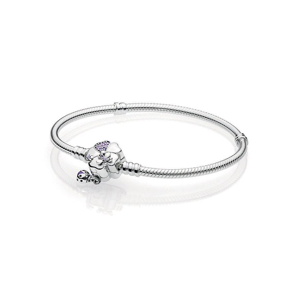 LJP Spring NEW 100% 925 Sterling Silver Wildflower Meadow Clasp Sterling Silver Bracelet wildflower