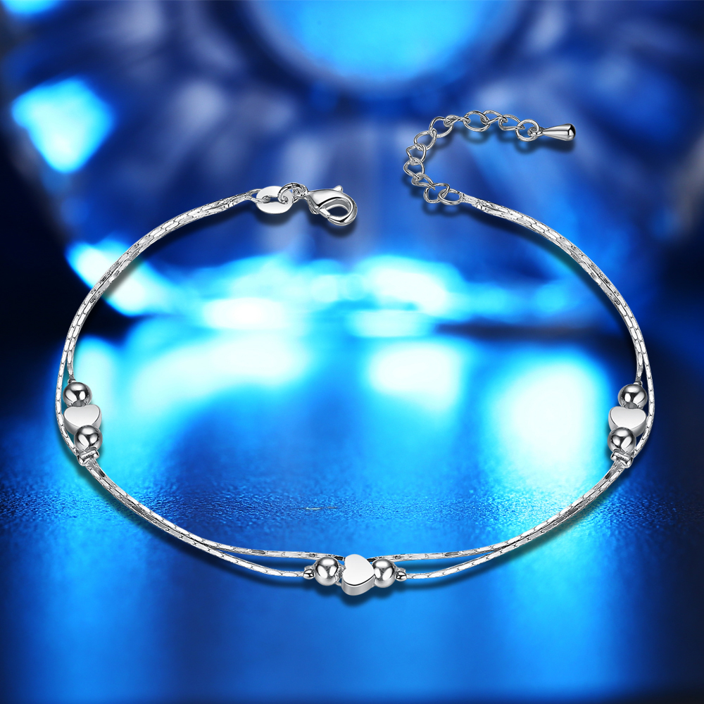 Fashion New 925 Sterling Silver Heart Women Chain Ankle Bracelet Sandal Beach Foot Anklet Gift 1PC Free Shipping 1