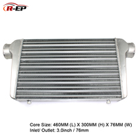 R EP Intercooler Universal 460x300x76mm Aluminum Radiator 3inch Inlet 76mm Outlet Cold Air Intake for Turbo Car