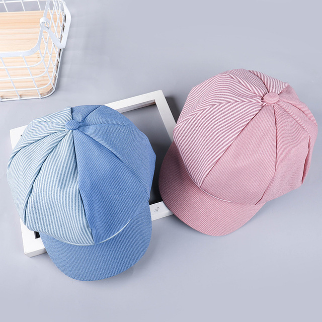 2019 NEW spring and summer men and women striped octagonal cap art painter hat casual wild fashion sun shade beret hat beanies