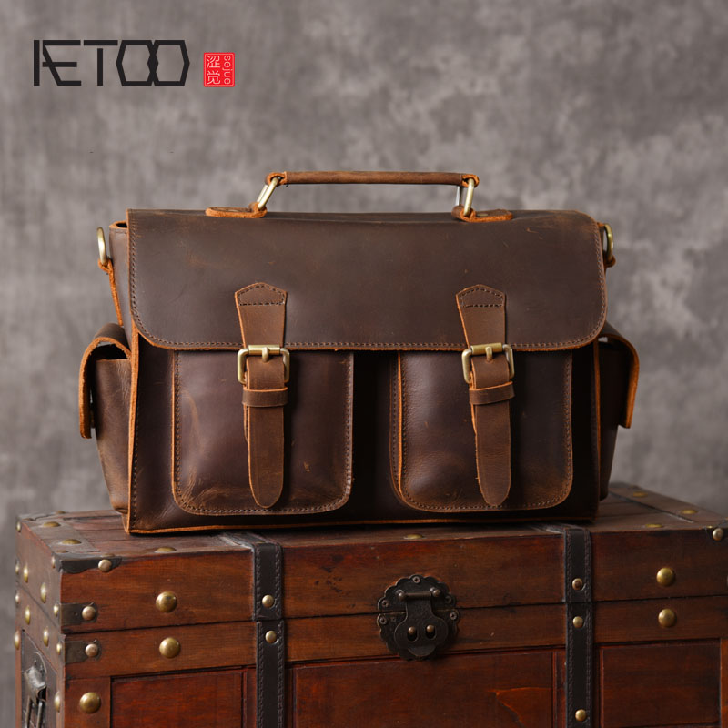 AETOO  Europe and the United States retro cowhide frenzy handbag shoulder bag postman men wave tide youth tide