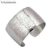 Unique Design Bangles Jewelry 2014 Big Wide Plain Cuff Silver Bangles Bracelets For Women Jewelry Flower