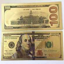 Золотая фольга для банкнот 10 шт./лот 100 долларов США с американскими поддельными деньгами в обертопе для коллекционного подарка