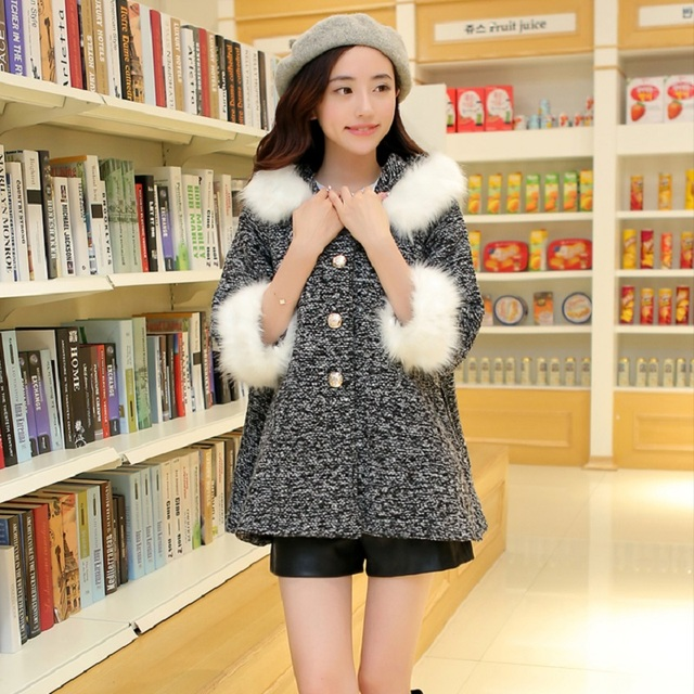 2016 autumn/winter maternity jacket fur collar maternity outerwear pregnancy  jacket outerwear maternity clothing 16779