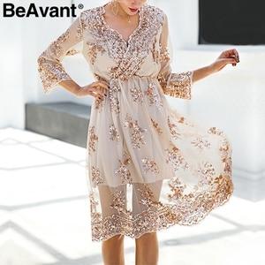 Image 3 - BeAvant 2018 new gold sequin embroidery summer dress Women deep v neck mesh sexy dress Elegant party dress vestido de festa