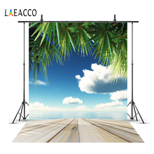 Laeacco Tropical Wooden Board Summer Cloudy Sky Sea Baby Child Photographic Backgrounds Photography Backdrops For Photo Studio