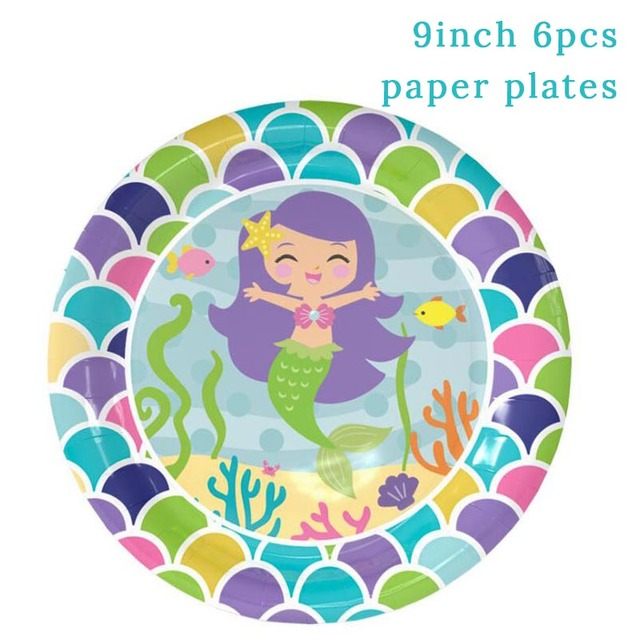 6pcs 9inch Plates Mermaid party plates 5c64f5cb309a9