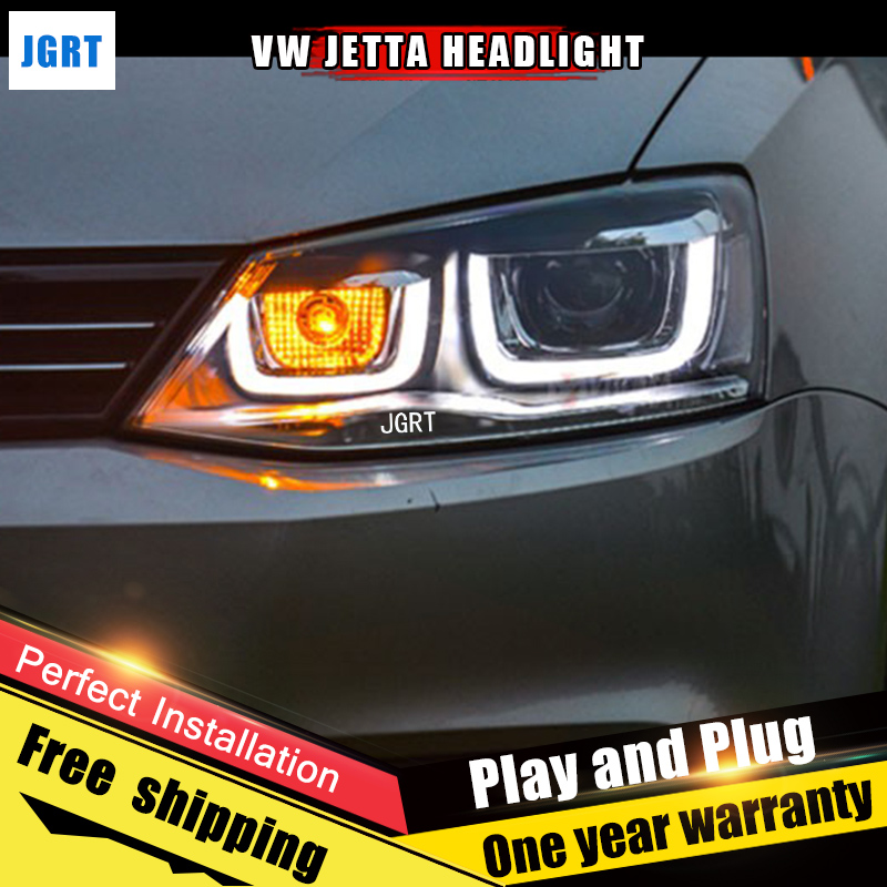 2PCS Car Style LED headlights for VW Jetta for 2011-2015 Jetta head lamp LED Lens Double Beam H7 HID Xenon bi xenon lens 2pcs car style led headlights for vw polo 2011 2017 for vw polo head lamp lens double beam h7 hid xenon bi xenon lens