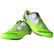 Sidebike Fluorescence Green Cycling Shoes Carbon Fiber Road Bicycle Sneakers Pro Team Cycle Shoes Sapatilha Ciclismo Zapatillas