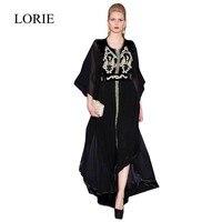 2016 New Designer Robe De Soiree Dubai Kaftan Black Muslim Evening Dress Long Sleeve Pearls Beaded