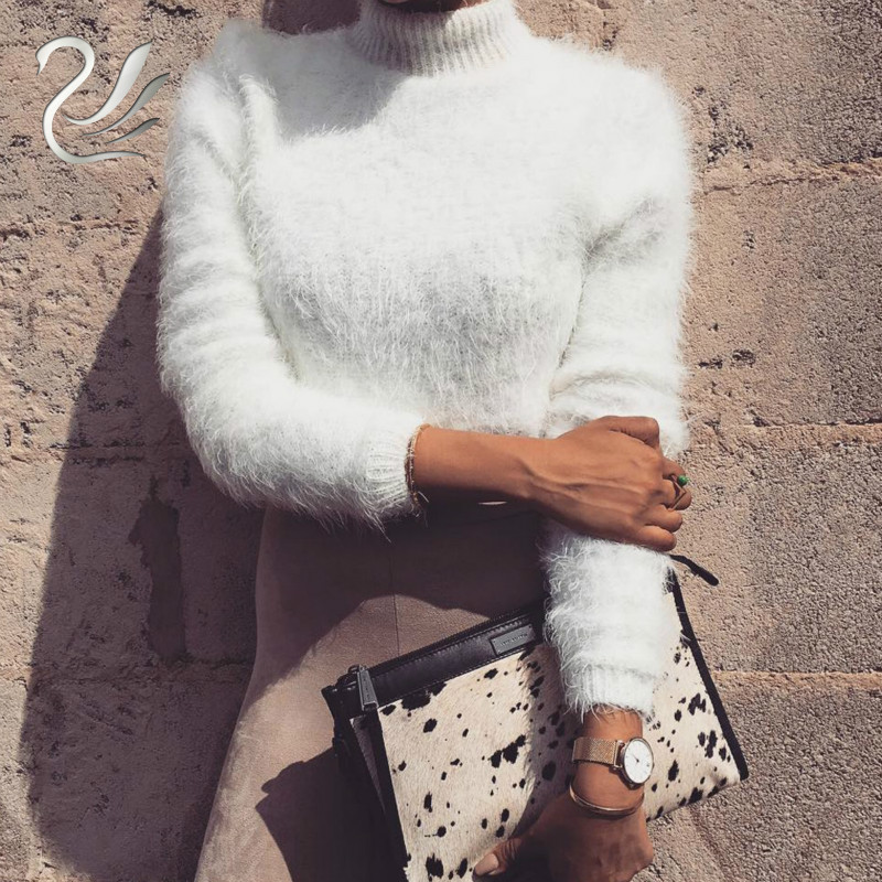 Warm hairy turtleneck knitted sweater Women autumn winter plush black sweater short top Basic long sleeve white crop top