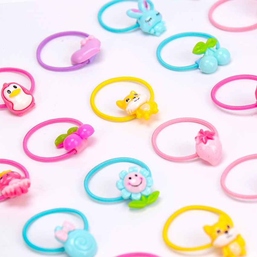 10 PCS New Cute Cartoon Rubber Band Hair Ring Fashion Kids Flower Fruit Animal Rubber Bands   Headwear   Girl Hair Accessories