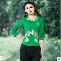 2016 autumn women new women embroidered collar long-sleeved T-shirt