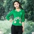 2016 mulheres do outono novas mulheres colarinho bordado longo-sleeved T-shirt