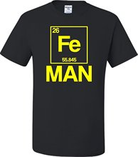 Adult Iron Periodic Table Man Funny Chemistry Science T-Shirt