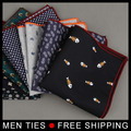 Mens Formal Handkerchief for Wedding Business Cotton Polka Dot Chest Towel Floral Pocket Square Male Towels Hanky Party