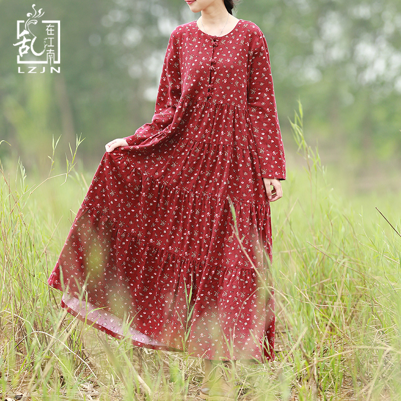 Hisenky Spring Long Sleeve Bohemian Dress Autumn Women Maxi Dresses Small Flower Shirt Dress Robe Femme