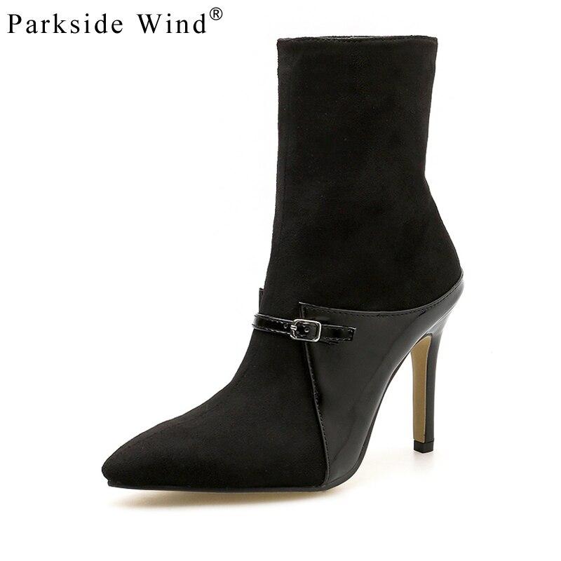 Parkside vent talons hauts bottes troupeau boucle sangle femmes chaussures Zipper bottines mode hiver fête dames bottes XWC3052-45