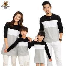 家族ルック母娘ドレス 2019 家族服父息子 Tシャツ綿パッチワークストライプ家族マッチング衣装