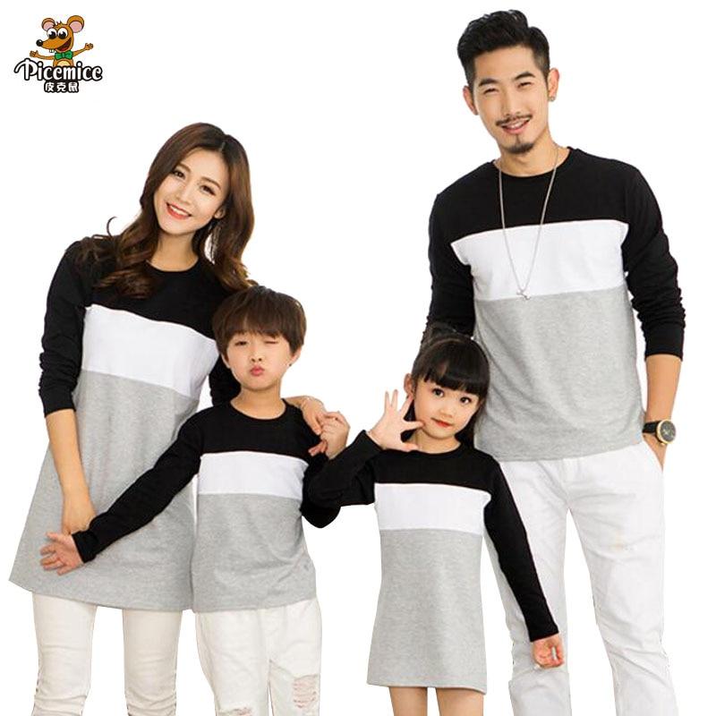 Famille Rechercher Mère Fille Robe 2018 Vêtements Pour La Famille Père Fils T-Shirt Coton Patchwork Rayé Famille Correspondant Tenues