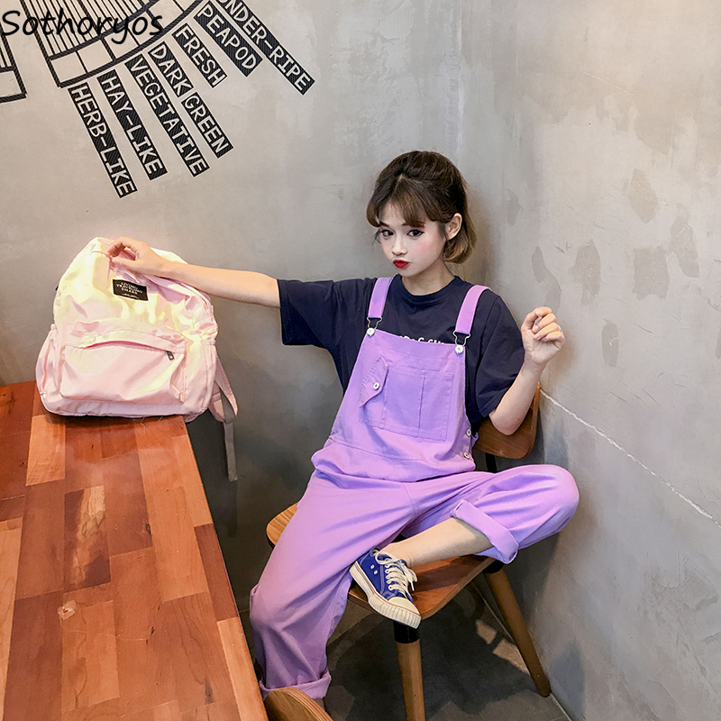 Jumpsuits   Women Harajuku Letter Printed Korean Style Chic Simple All-match Streetwear Sleeveless   Jumpsuit   Loose Kawaii Girls