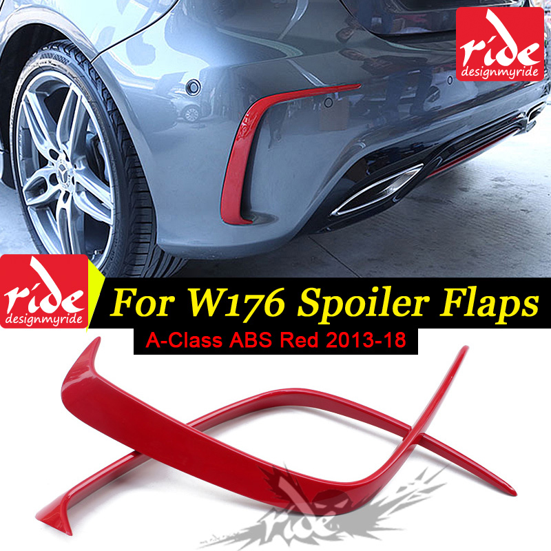 For <font><b>Mercedes</b></font> <font><b>Benz</b></font> A Class <font><b>W176</b></font> ABS Red Rear Bumper Canards A180 <font><b>A200</b></font> A250 A300 A45 Look Package 2013-2018 Rear Air Dam Trimming image
