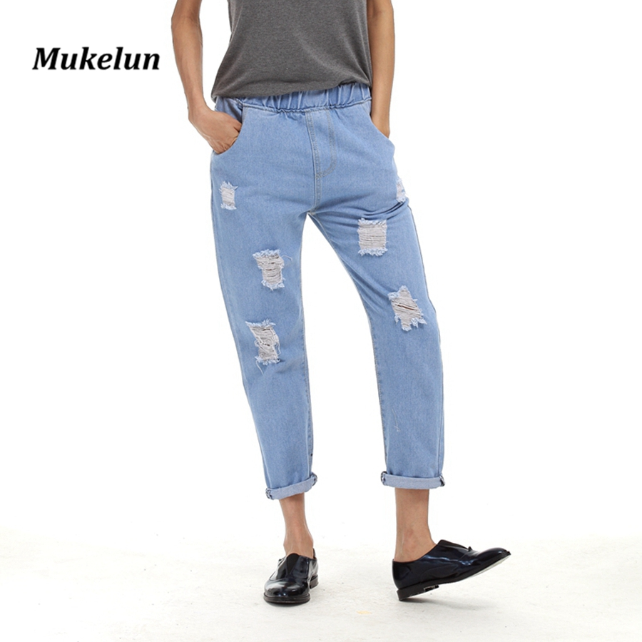 Fashion New 2017 Casual Summer Ripped Jeans Women Pants Cool Denim Vintage Harem Jeans Girl High Waist Casual Pants Female new summer vintage women ripped hole jeans high waist floral embroidery loose fashion ankle length women denim jeans harem pants