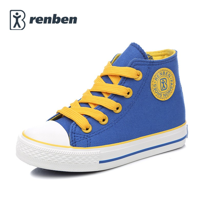 Children shoes girls sneaker 2017 Spring Autumn Candy color Lace Up Child canvas shoes Boys High