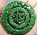 Chino viejo trabajo hecho a mano verde JADE tallado dragón pendiente / envío gratis