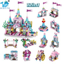 12 In 1 Diy Toys Funny Princess Castle Compatible withlegoergy Friends City Model Building Blocks Girl for Child