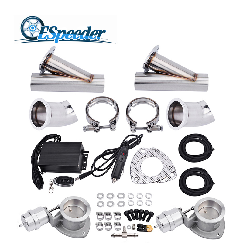 ESPEEDER 3.0'' Vacuum Valve Stainless Steel Headers Y Pipe Exhaust Cutout Catback Pair Electric Cut Out Exhaust Tip Muffler Kit 5406049 1 headers