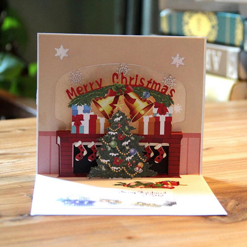 Christmas Pop Up Cards.Us 14 88 3pcs Lot Merry Christmas Pop Up Cards With Envelope Stickers Laser Cut New Year Greeting Cards Festival Gifts Card In Cards Invitations