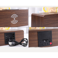 LED Digital Alarm Clock Wooden Wireless Charging Charger Thermometer Sound Control HTQ99
