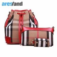 Aresland estilo europeo femenino 3 unidades set cuadrícula impresa paquete bucket bag bolso de hombro del totalizador del bolso de crossbody