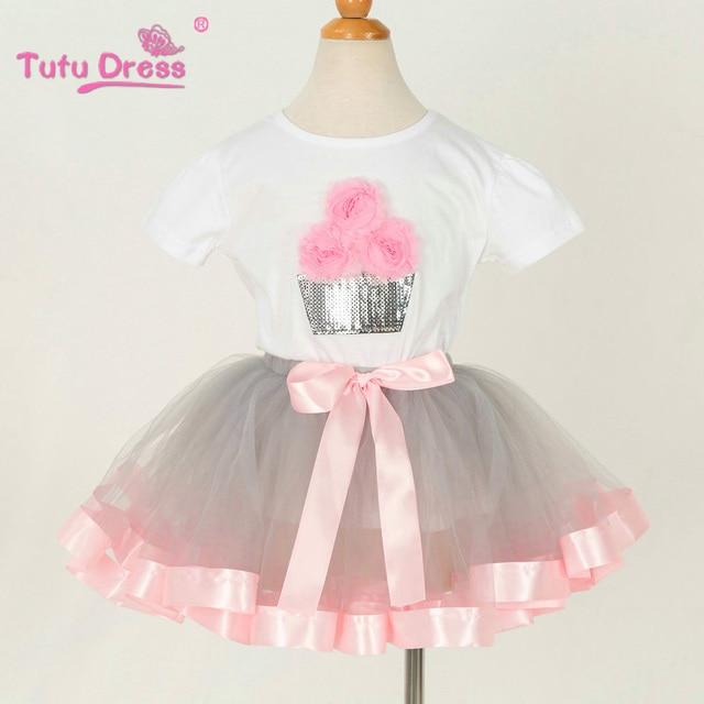 99fee642fd35 Children Summer Flower Girls T-shirt+Tutu Skirt Clothing Sets Kids Clothes  Set For Girl Outfit Wear Prom Show
