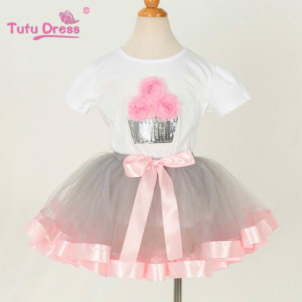 Children Summer Flower Girls T-shirt+Tutu Skirt Clothing Sets Kids Clothes Set For Girl Outfit Wear Prom Show