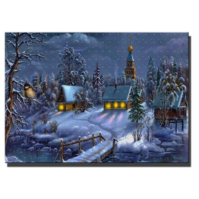 kerst schilderij met verlichting canvas wall art met led verlicht dorp cabine met brug in