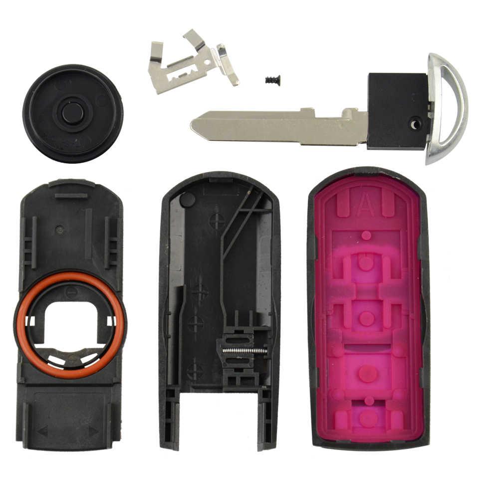 OkeyTech Smart Key Card Borsette Della Copertura Fob per Mazda 3 6 CX-5 CX-3 Atenza Axela Rosso Clip di Batteria Di Emergenza con inserto Lama In Bianco
