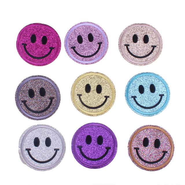 Smail Face Cute Patches Garment Applique Stripe For Clothes DIY Embroidered Emoji Iron On Applique For