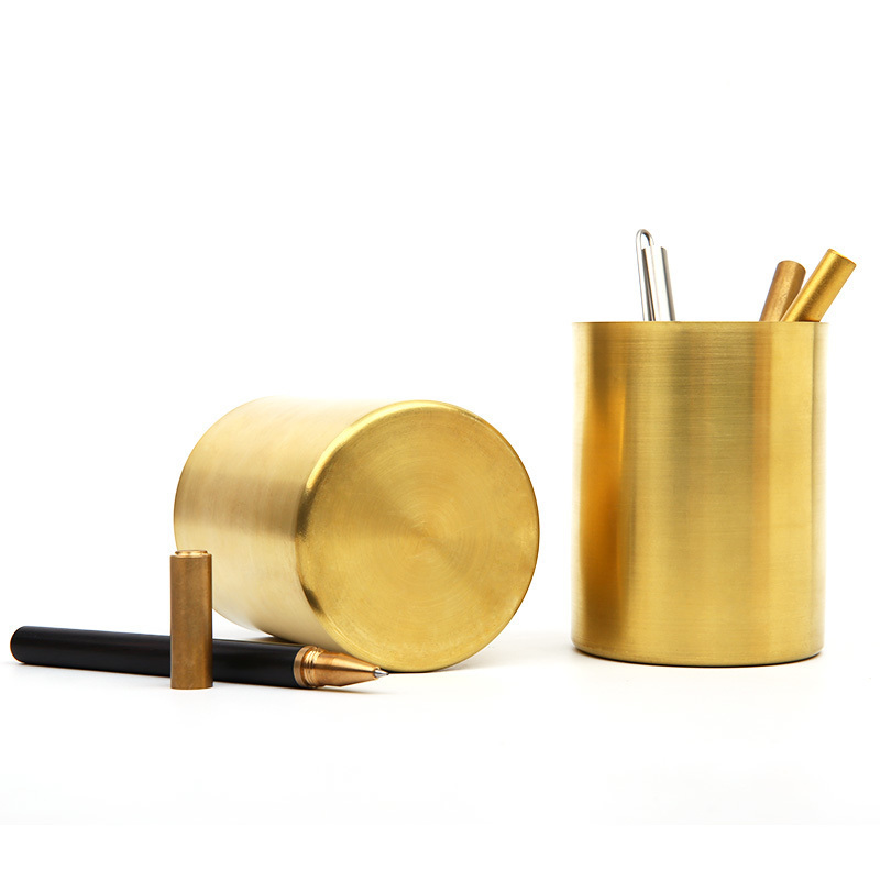 Vintage Brass Pen Holder Stationery Container Creative Office Supplies Pencil Pen Pot Desk Accessories tianse golden brass pen holder stainless steel metal desk accessories pencil stand pen pot stationery container office supplies
