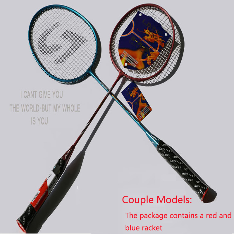 JUNRUI couple models100% Original Full Carbon Badminton Racket Raquette Light Weight Carbon Sports Suit for Beginners 1 pair