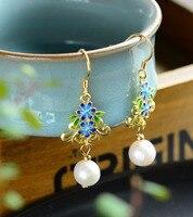 Vintage ethnic style 925 silver earrings natural freshwater pearl handmade cloisonne earrings